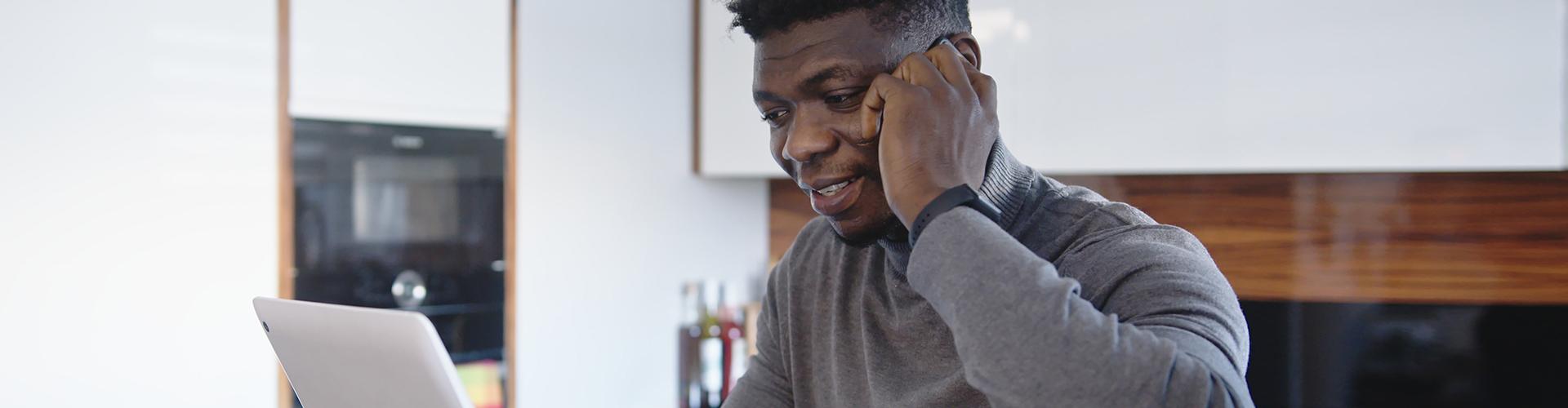 a man answering phone calls