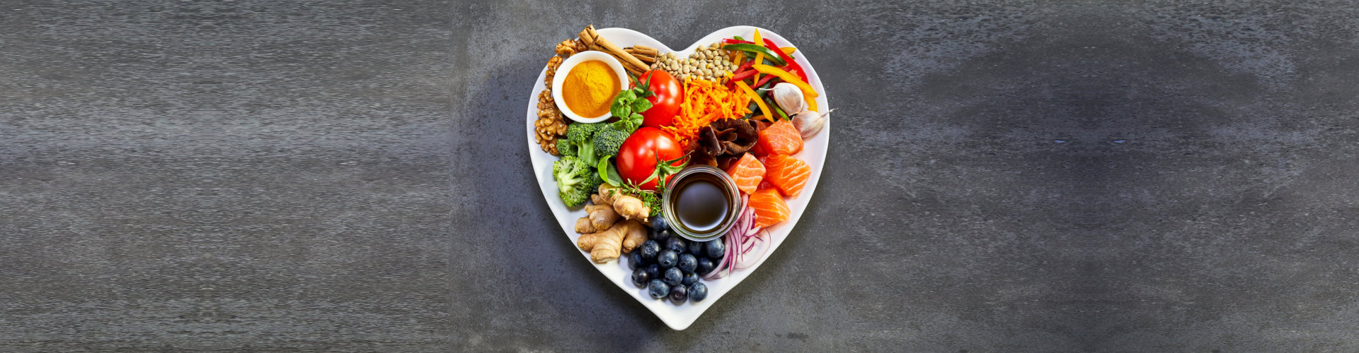 healthy diet for the cardiovascular system with a heart-shaped plate